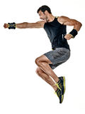 Fitness man cardio boxing exercises isolated Royalty Free Stock Photos