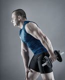 Fitness man doing triceps workout. With dumbbells on gray background Stock Images