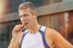 Fitness Man Eating Snack Food Royalty Free Stock Image
