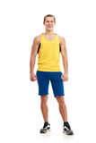Fitness man. full length. Portrait of a athletic man. full length over a white background stock photo
