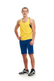Fitness man. full length portrait. Portrait of a athletic man. full length over a white background stock photos