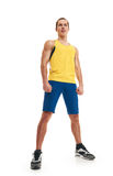 Fitness man. full length. shot from down. Portrait of a athletic man. full length over a white background stock image