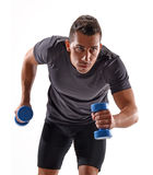 Fitness man. Healthy and fitness man running and holding gym weights on white background stock image