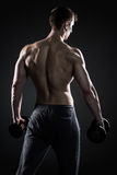 Fitness man showing his gread body with dumbbells, rear view. Muscular fitness man showing his gread body with dumbbells in hand on black background, rear view Stock Image