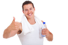 Fitness man thumb up Royalty Free Stock Photos