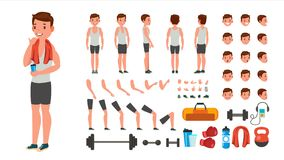 Fitness Man Vector. Animated Athlete Character Creation Set. Full Length, Front, Side, Back View, Accessories, Poses. Face Emotions, Various Hairstyles royalty free illustration