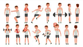Fitness Man Vector. Different Poses. Weight Training. Exercising Male. Man Figures Is Training On Sport Club. Isolated. Fitness Man Vector. Different Poses Stock Image