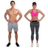 Fitness man woman fit bodybuilder bodybuilding muscles standing Stock Photo