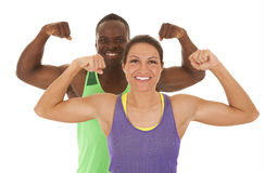 Fitness man and woman flex Stock Images