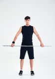 Fitness man workout with barbell Royalty Free Stock Image
