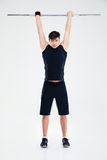 Fitness man workout with barbell Stock Photo
