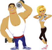 Fitness men and girl Royalty Free Stock Images