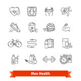 Fitness and men health. Thin line art icons set Royalty Free Stock Photo