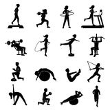 Fitness men women blackicons set Royalty Free Stock Photography