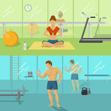 Fitness For Men And Women Compositions. With green female hall and blue male gym  vector illustration Stock Images