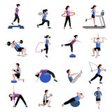Fitness men women flat icons set Stock Photos