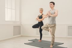 Couple training yoga in tree pose. Fitness, men and women training yoga in tree pose. Young couple makes relaxing exercise, copy space Royalty Free Stock Image