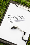 Fitness message on a clipboard Royalty Free Stock Photo