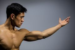 Asian Fitness Model Stretched Out Arm Profile. A fitness model with an arm stretched out showing his bicep muscle. Profile Royalty Free Stock Photo