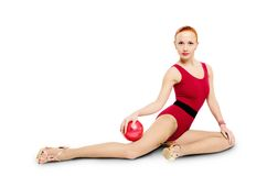 Fitness model with ball Royalty Free Stock Photography