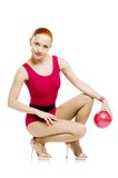 Fitness model with ball Royalty Free Stock Photos