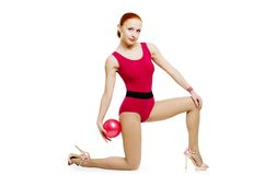 Fitness model with ball Royalty Free Stock Photo