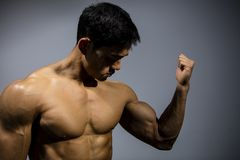 Fitness Model Flexing Bicep Muscle. A fitness model flexes his bicep looking towards the muscle. Medium close up Royalty Free Stock Images