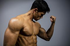 Fitness Model Flexing Bicep Muscle. A fitness model flexes his bicep looking towards the muscle. Medium close up Stock Photos