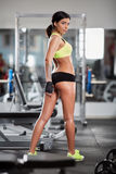 Fitness model posing in gym Royalty Free Stock Images