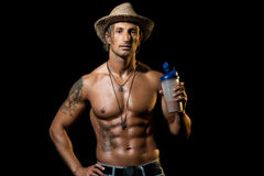 Fitness Model with protein shake Stock Image