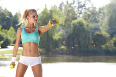Fitness Model . Spring outdoor training royalty free stock photos
