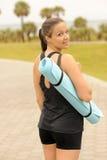 Fitness Model Yoga Mat Stock Images