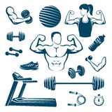 Fitness Monochrome Elements Set. With muscular man and woman treadmill dumbbell and barbell ball isolated vector illustration Stock Photo
