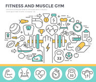 Fitness and muscle gym concept illustration. Royalty Free Stock Photography