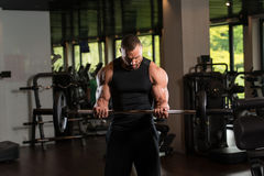 Fitness Muscle Man Exercise Biceps With Barbell Royalty Free Stock Photo