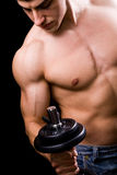 Fitness muscles concept - muscular man and weights royalty free stock image