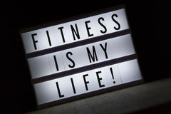 Fitness is my life. `Fitness is my life` text in lightbox royalty free stock photos