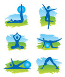 Fitness in the nature icons Stock Images