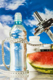 Fitness objects on the blue sky background Royalty Free Stock Photography