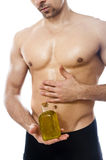 Fitness and olive oil Stock Photo