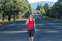 Fitness Over Forty Woman Running Stock Images
