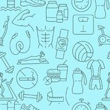 Fitness pattern with line icons royalty free illustration