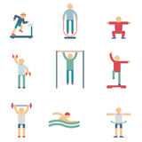 Fitness people color icons Royalty Free Stock Photo