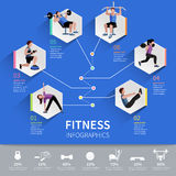 Fitness people infographic presentation design Royalty Free Stock Photo
