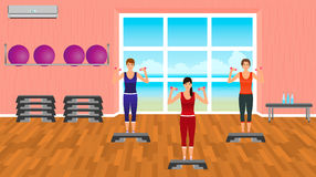 Fitness people in sports wear. Group of women in the gym. Sport characters. Helthy lifestyle concept. Stock Images