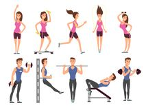 Fitness people vector cartoon characters set. Women and men athletes make exercises with sports equipment Stock Images