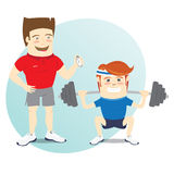 Fitness personal trainer and funny sportsman doing squats with b Royalty Free Stock Image