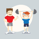 Fitness personal trainer and funny sportsman lifting barbell Royalty Free Stock Image