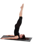 Fitness - Pilates. Beautiful young lady doing exercise.  Pilates and aerobics Stock Photo