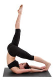 Fitness - Pilates. Beautiful young lady doing exercise.  Pilates and aerobics Royalty Free Stock Photography